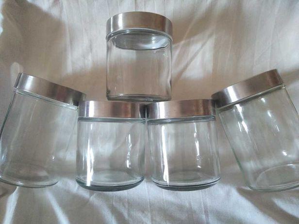 frascos organização em vidro