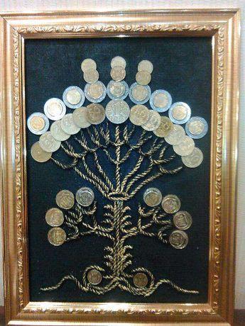 Картина, панно денежное дерево из монет.