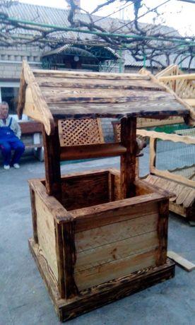 колодец для дачи деревянный. колодец декоративный колодец для дачи