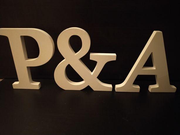 Litery P & A ozdobne białe drewno stół ślub wesele duże 20 cm