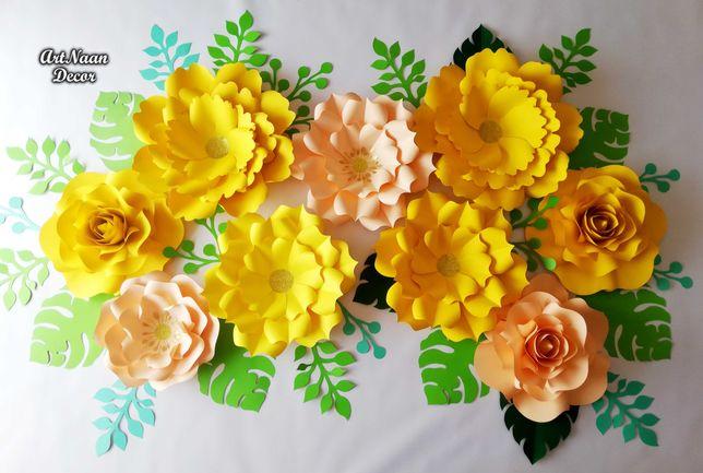 Dekoracja weselna, kwiaty z papieru duży zestaw dekoracyjny na salę