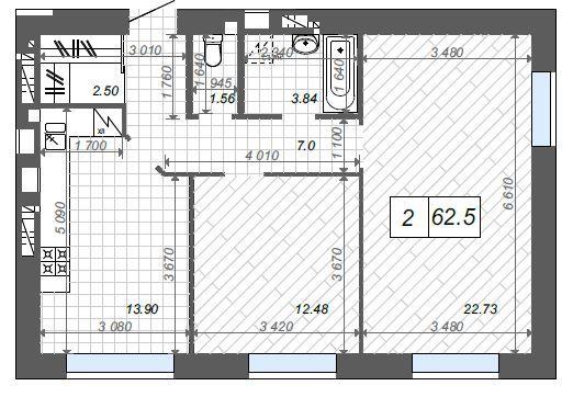 2-х комнатная квартира с возможностью сделать 3-х комнатную