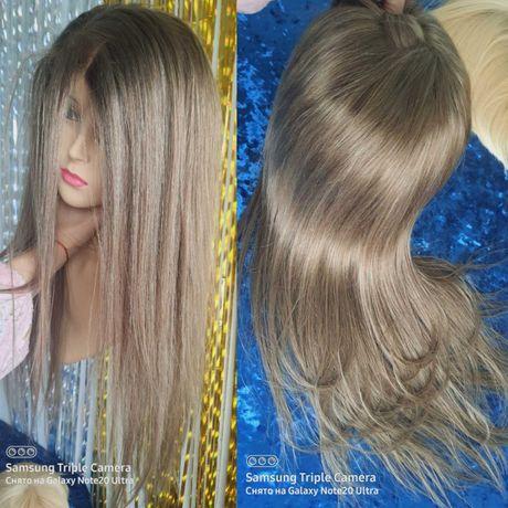 Натуральный парик славянские пепельно русые волосы с имитацией кожи