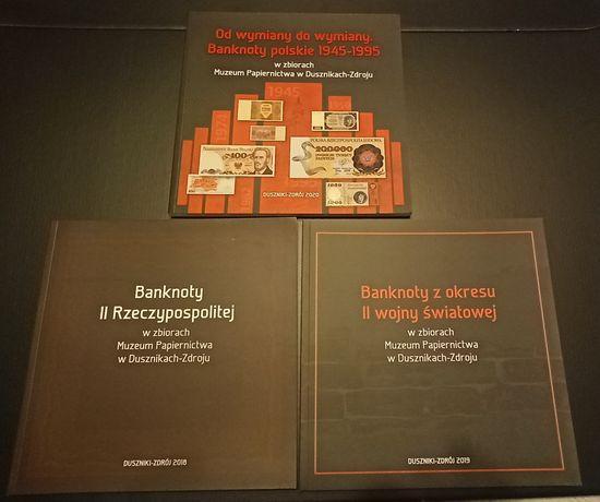 3 katalogi banknotów polskich z Muzeum Papiernictwa