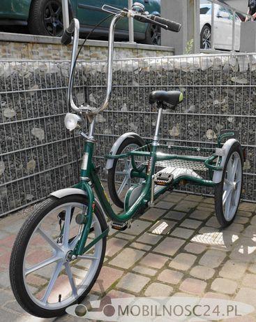 Rower rehabilitacyjny trójkołowy z koszykiem.