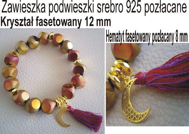 Bransoletka złoto-różowa kryształ srebro 925 pozłacane złoto 24 karaty