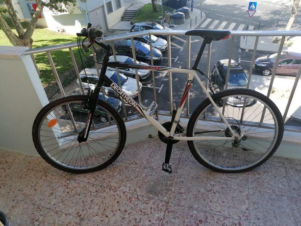 Bicicleta com mudanças e amortecedor frente.