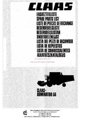 Katalog części kombajn claas Dominator 56
