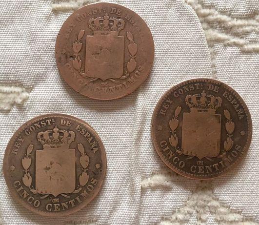 Numismática, Moedas antigas espanha de cinco centimos em cobre