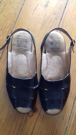 Sapatos pretos, Conforto Medicinal, em pele, 38