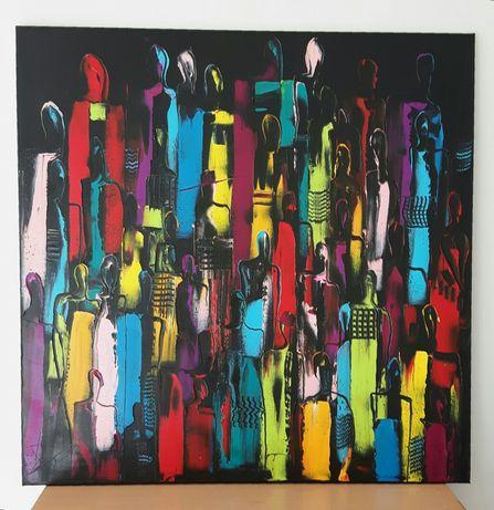 LUDZIE abstrakcja obraz olejny duży 80x80 KatarzynaArt