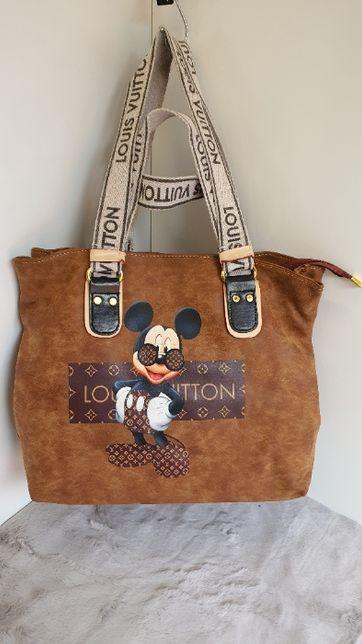Torebka LV Louis Vuitton Myszka miki Mickey Mouse Shopperka camel