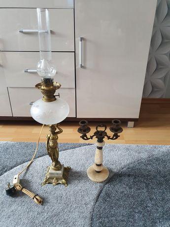 Lampa i świecznik antyk
