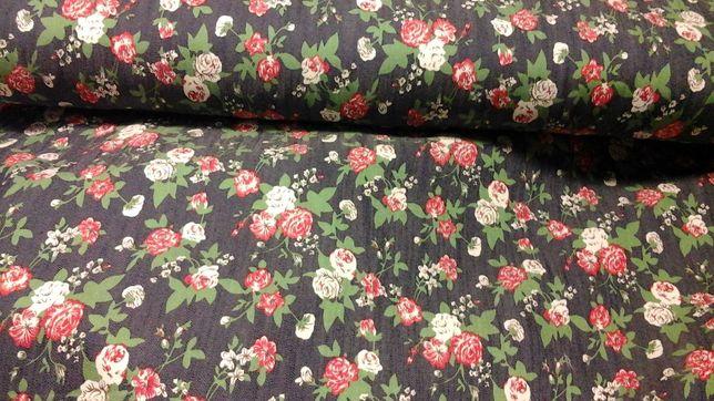 Tkanina granatowa w czerwono-białe kwiatki