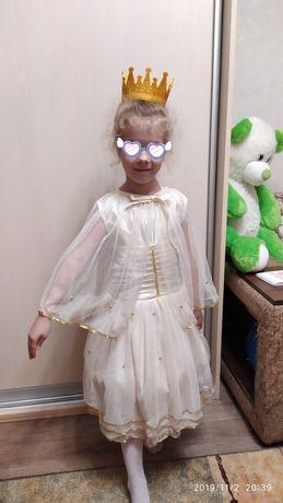 Платье, накидка и корона. Костюм сказки или на выпускной, на 5-6лет