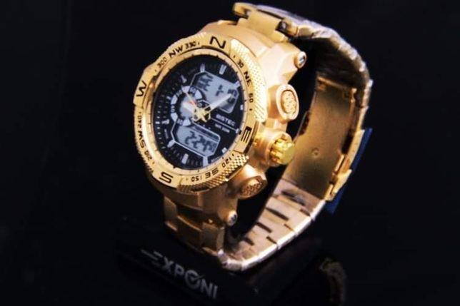 Zegarek męski na bransolecie kwarcowy stal chirurgiczna!