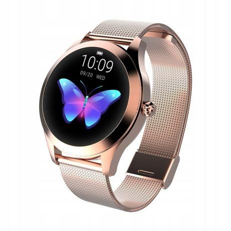 Smartwatch zegarek damski złoty/srebrny kroki puls cykl