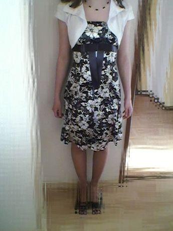 Czarno-biała sukienka we wzorki kwiaty, na ramiączkach, M