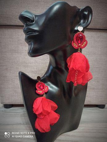 Czerwone eleganckie kolczyki sutasz na wesele ślub prezent
