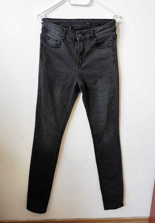 stalowe spodnie jeansy ZARA rurki szare jak nowe 36/S