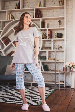 Домашний комплект футболки и бриджи, пижама женская с бриджами