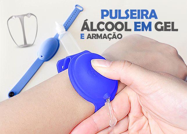 Pulseira alcool em gel, com frasco e armacao para mascaras