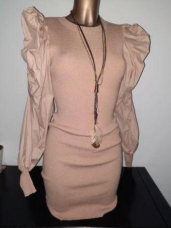 Vestido de malha c/ manga abalonada - NOVO