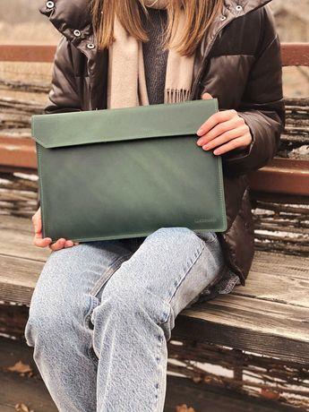 Кожаный чехол для ноутбука MacBook Air и Pro Folder изумрудного цвета