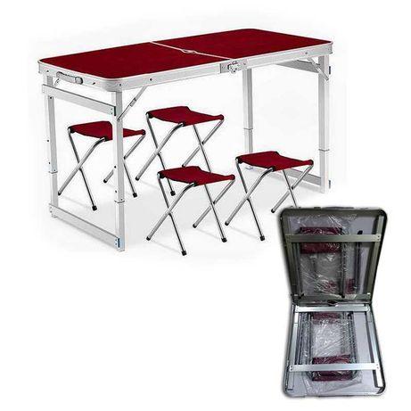 Раскладной Стол Усиленный Чемодан с квадратными ножками + 4 стула