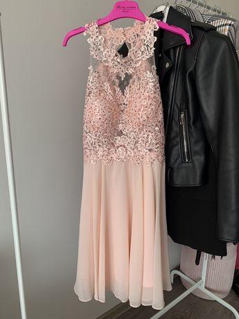 Sukienka nowa pudrowy róż 34