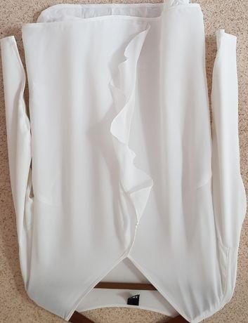 Biała szykowna elegancka wizytowa bluzka, falbany, wesele, wyjściowa