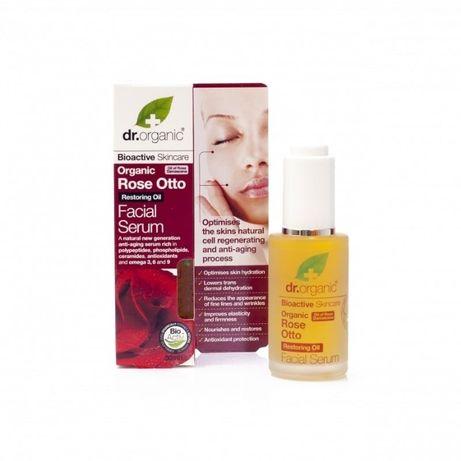 Dr. Organic Różany Rose Otto Facial Serum Bogaty olejek do twarzy dla