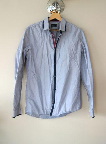 Reserved 40 L Slim Fit szara jasnoniebieska meska dluga koszula granat