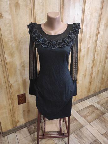Платье нарядное темно-синее