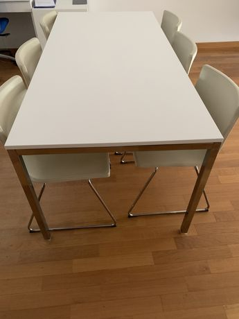 Mesa jantar 1800x850mm - tampo melamina branco brilhante + 6 cadeiras
