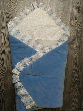 Тёплый плюшевый конверт-одеялко на выписку