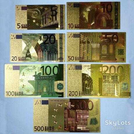 Золотая банкнота 5.10.20.50 Евро