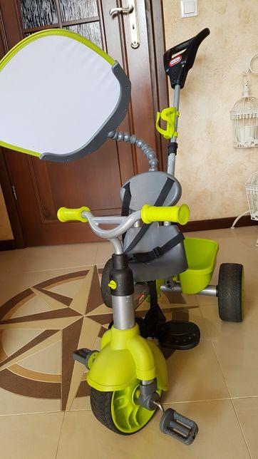 rowerek little tikes zielony z rączką rodzica pasami oslonka słoneczna