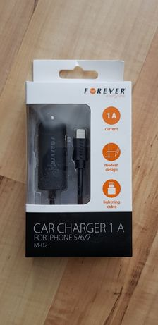 Ładowarka samochodowa do iPhone iPod iPad zintegrowany kabel lightning
