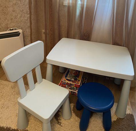 Комплект стол и стульчик IKEA MAMMUT, табурет!