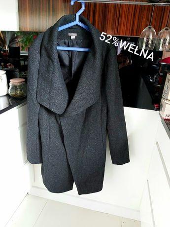 H&M wełniany grafitowy płaszcz wełna ciepły jesienny zimowy waterfal L
