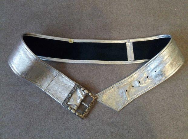 Ремень женский серебро из натуральной кожи на талию 82-92см