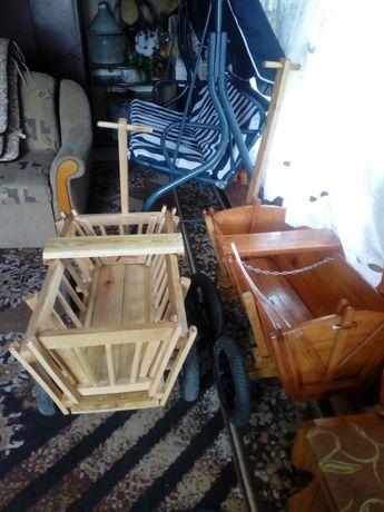 Wózek ogrodowy drewniany
