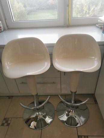 Hokery barowe, krzesło barowe kuchenne białe