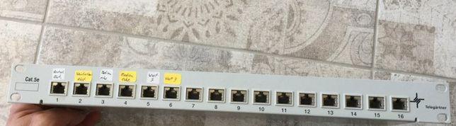 """Патч панель 16 портов 19"""", CAT. 5Е б\у"""