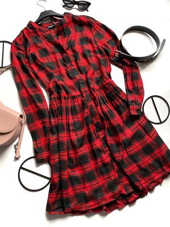 Вискозное платье в клетку / платье рубашка в клетку