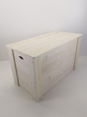 Skrzynia drewniana biała