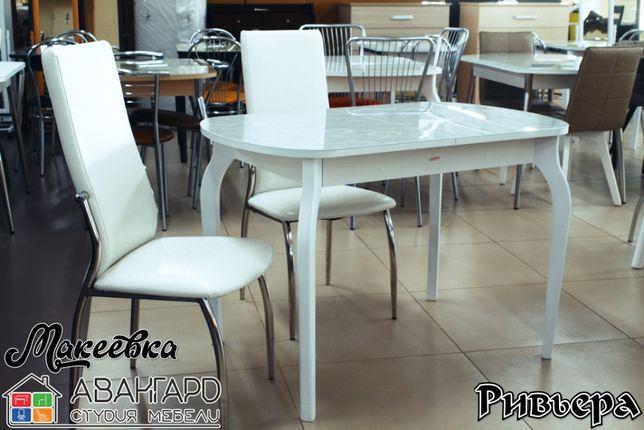 """Обеденный раздвижной стол из закалённого стекла с рисунком """"Ривьера"""""""