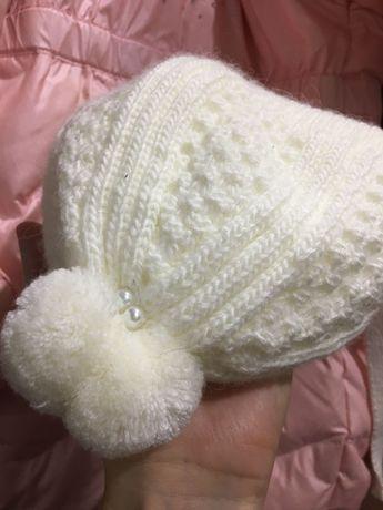 Шапка для девочки 0-3 месяца  Шапка для новорожденного Молочная шапка