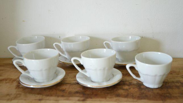 stary Kpl. 6 oryginalnych filiżanek porcelana+ talerzyki